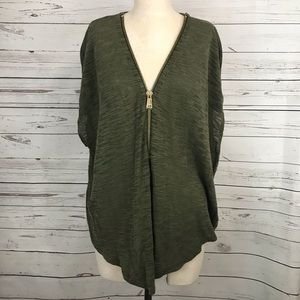 Express Olive Green Burn Out Knit Blouse.